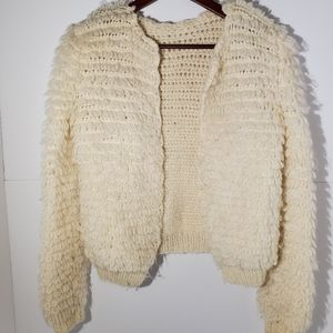 Sweaters - Cream textured wool crop sweater cardigan XS small